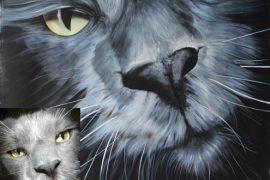 Katzenportrait, Blue-White