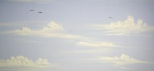 Himmeldecke im Dachstock mit Airbrush ausgeführt