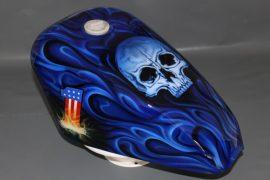 Harley Sportster Tank, Skull Flames Airbrush
