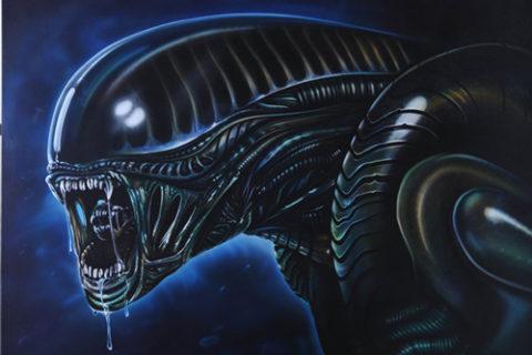Alien, Portrait oder Bildkopie