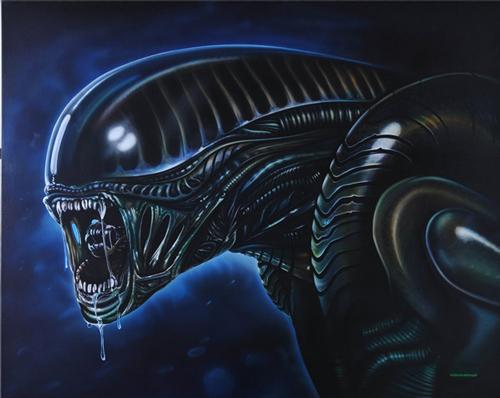 Alien, inspiriert von HR. Gyger