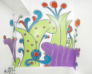 Nasszelle, Wandmalerei im Badezimmer
