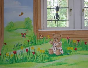 Wandmalerei, Dekorationsmalerei für Kinder, Teddy und Bärendorf