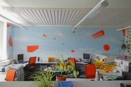Wandmalerei im Grossraumbüro