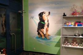 Wandmalerei im Hundesalon