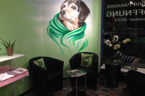 Hundesalon Wandmalerei Airbrush-Portrait