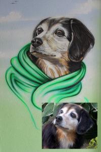 Airbrush Wandmalerei Hund Tierbild