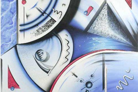 Wandbild Airbrush 'Blue Tech'