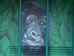 Wandmalerei, Fassadenbild, Tierbild, Portrait, Affe