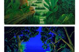 Urwald bei Tageslicht und Schwarzlicht