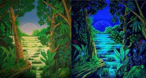 Urwald Normallicht und UV
