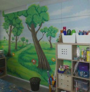 Wandmalerei im Kinderzimmer-Zauberwald