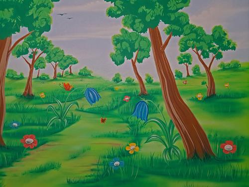 Kinder Lieben Wandmalerei Airbrush