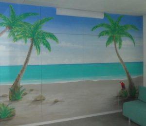 Ruheraum-Palmenstrand Wandmalerei