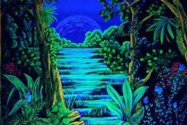 Wandmalerei Urwald bei Tageslicht und Schwarzlicht