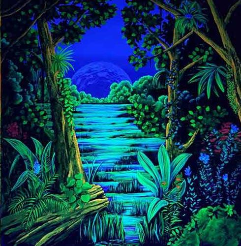 Wandmalerei Urwald im Schwarzlicht