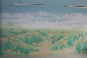 Wandmalerei mit Himmeldecke im Ruheraum