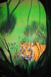 Wandmalerei Tiger bei Normallicht