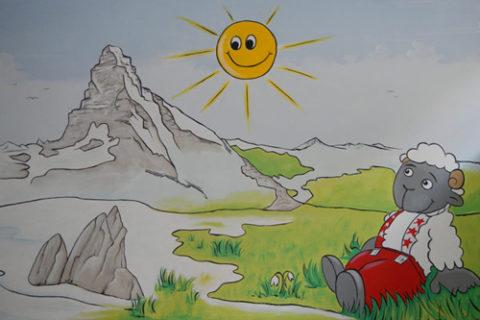 Wolli Zermatt, Wandmalerei im Hallenbad